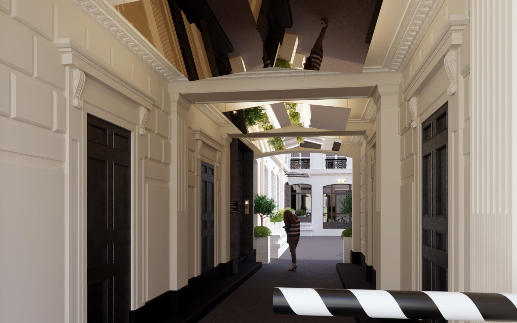 Porche d'entrée immeuble bureaux. Éclairage feuille laiton, light design. Immeuble d'Andrée Putman, rue Chauchat, Paris