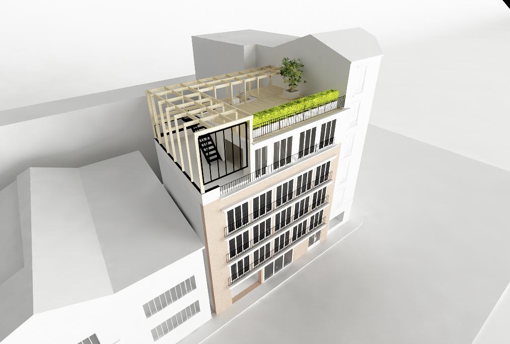 Rendu, visualisation 3D. Rooftop / extension en bois appartement Paris