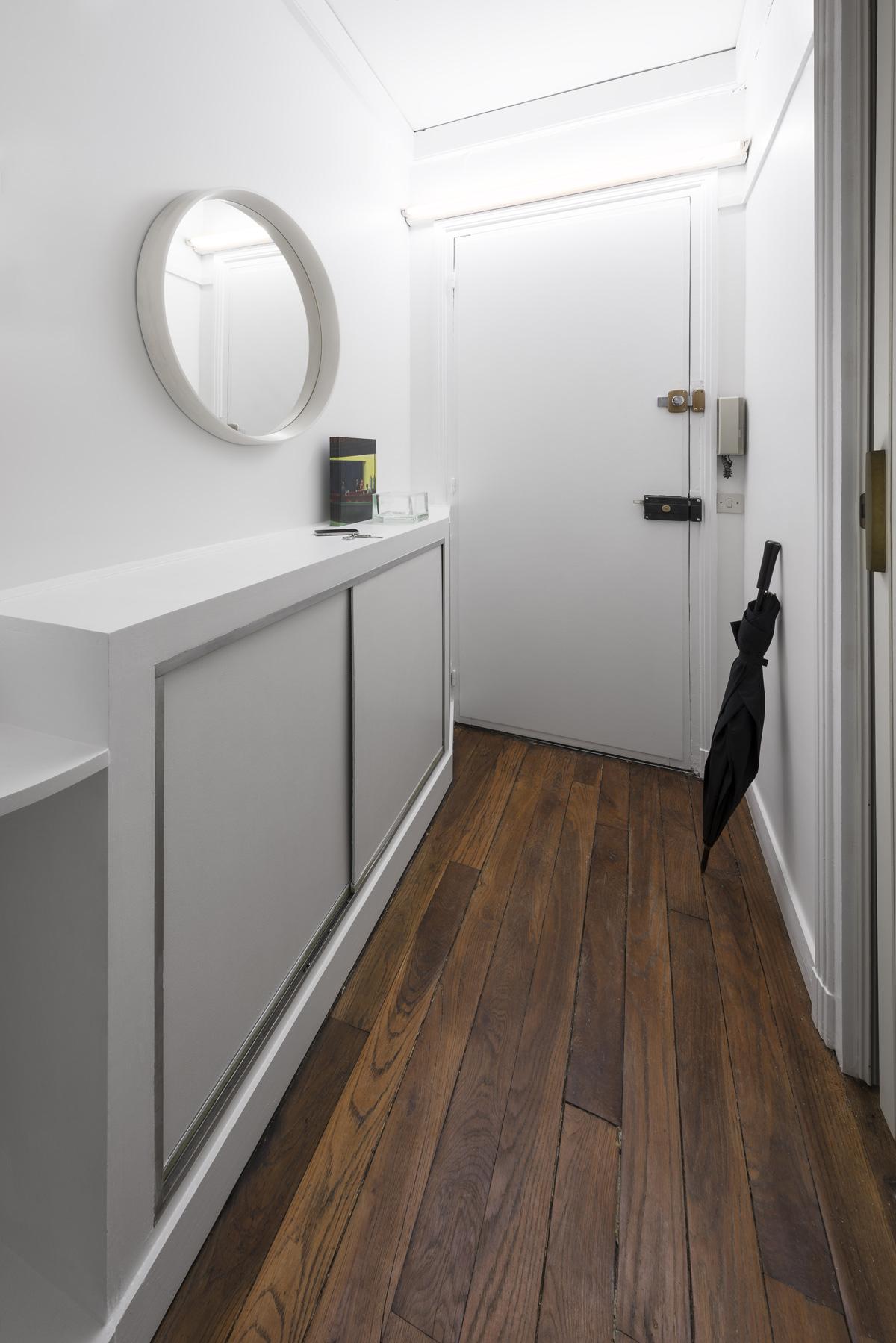 Entrée, couloir, rénovation appartement, vide-poches